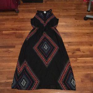 Black and Colorful Diamond Print Maxi Dress